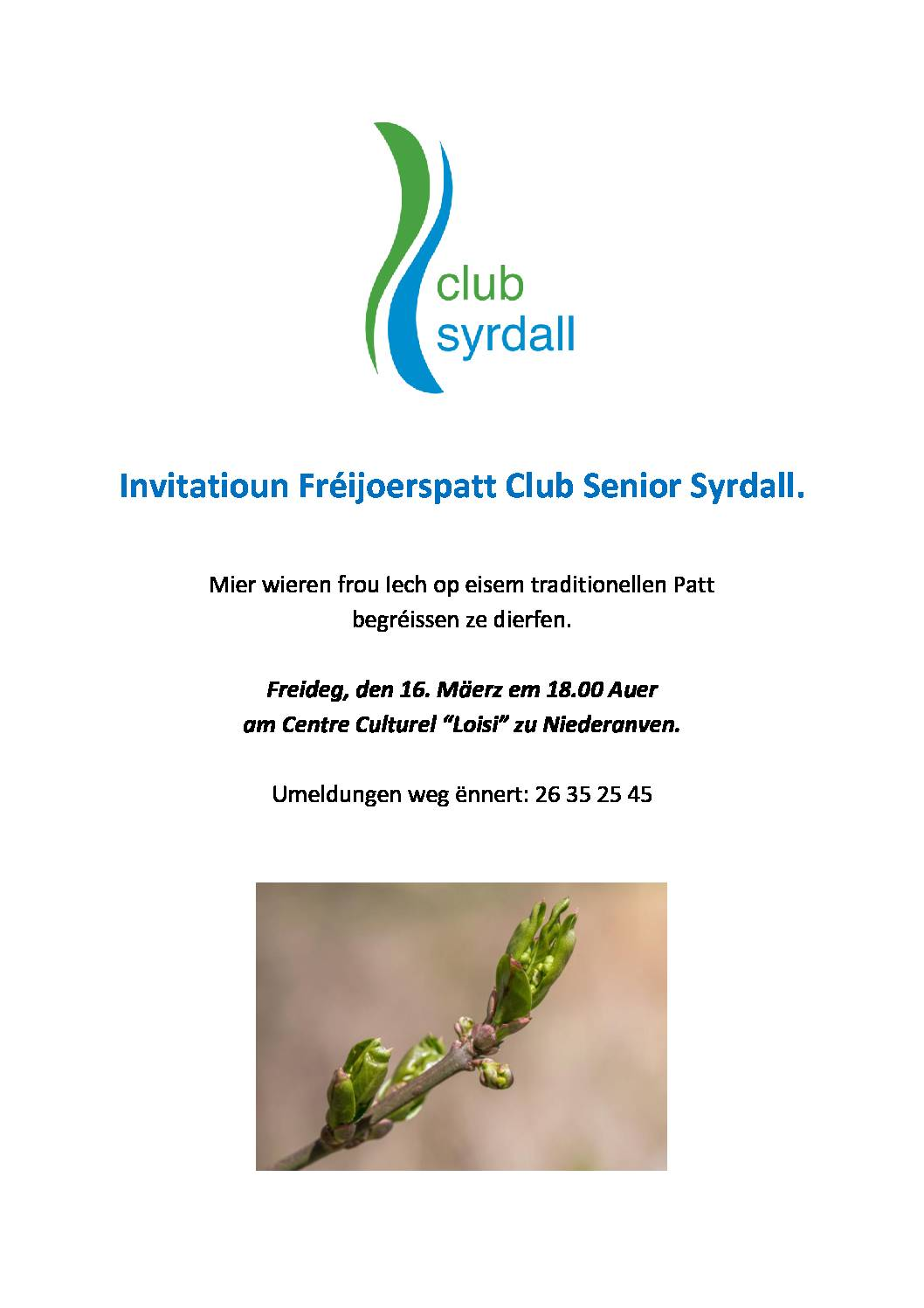 Invitatioun Fréijoerspatt Club Senior Syrdall
